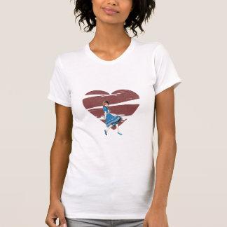 3D Alicia y corazón rojo Camiseta