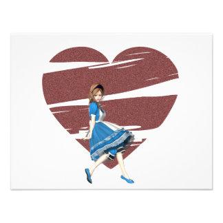 3D Alicia y corazón rojo Invitacion Personal