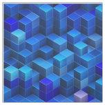 3D azul cubica el modelo geométrico abstracto Tela