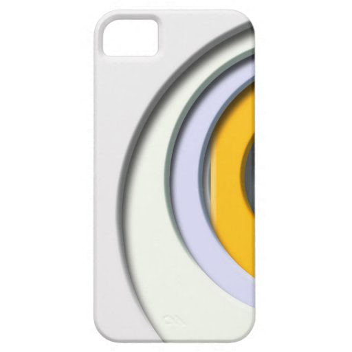 3D, Formas circulares, degradado amarillo carcasa iPhone 5 Carcasa