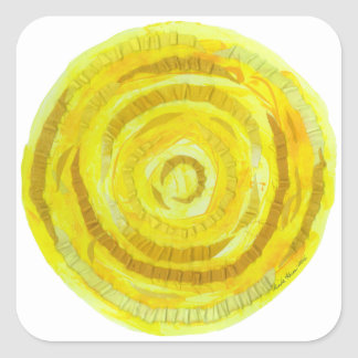 3rd-Solar ilustraciones curativas amarillas del Pegatina Cuadrada