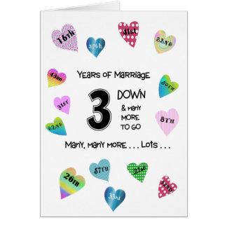 3ro aniversario de los corazones felices tarjeta de felicitación