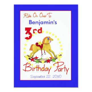 3ro Caballo mecedora de la fiesta de cumpleaños Invitación 10,8 X 13,9 Cm