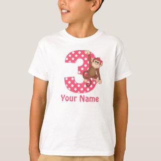 3ro Camisa personalizada chica del mono del