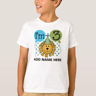 3ro camiseta personalizada del cumpleaños del león