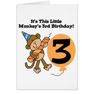 3ro camisetas y regalos del cumpleaños del pequeño tarjeta