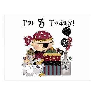 3ro Camisetas y regalos del pirata del cumpleaños Postal