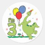 3ro cumpleaños de Dino Pegatina Redonda
