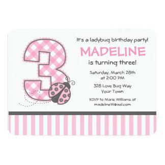 3ro cumpleaños de la mariquita rosada invitación 12,7 x 17,8 cm