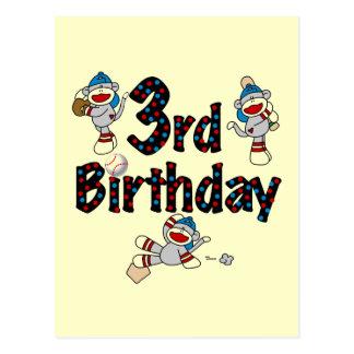 3ro Cumpleaños del béisbol del mono del calcetín Postal