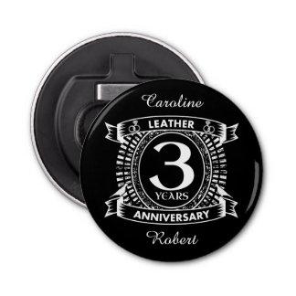 3ro escudo apenado del aniversario de boda abrebotellas redondo