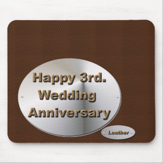 3ro feliz. Aniversario de boda Alfombrillas De Ratón