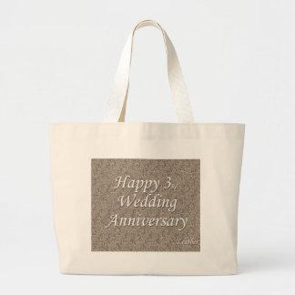 3ro feliz Aniversario de boda Bolsa De Mano