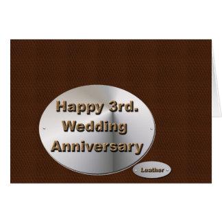3ro feliz. Aniversario de boda Tarjeta De Felicitación