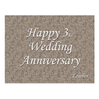 3ro feliz Aniversario de boda Postal