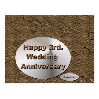 3ro feliz. Aniversario de boda Tarjeta Postal