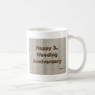 3ro feliz. Aniversario de boda Tazas De Café