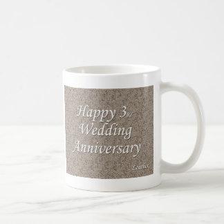 3ro feliz Aniversario de boda Tazas