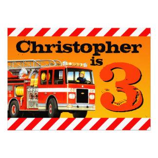 3ro fiesta de cumpleaños del coche de bomberos invitacion personalizada