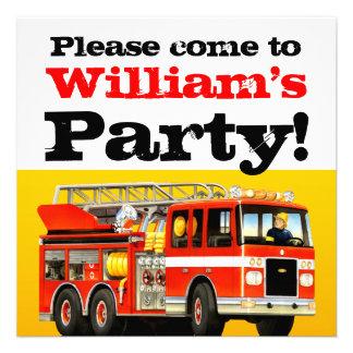 3ro fiesta de cumpleaños del coche de bomberos invitaciones personalizada