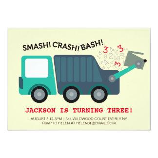 3ro Fiesta del camión de basura del cumpleaños Invitación 12,7 X 17,8 Cm