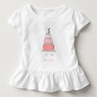 3ro fiesta del cumpleaños del chica rosado camiseta de bebé