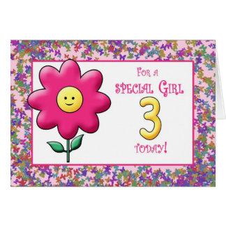 3ro Flor rosada linda y smiley del cumpleaños Tarjeta