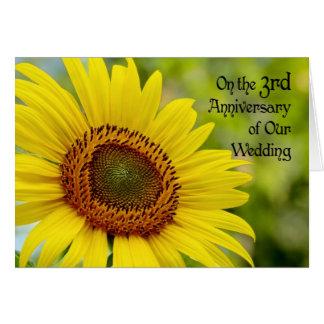 3ro girasol feliz del aniversario de boda tarjeta de felicitación
