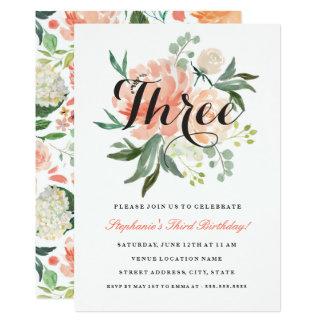 3ro Invitación floral del melocotón rosado del