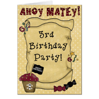 3ro Invitaciones del cumpleaños del pirata Felicitacion