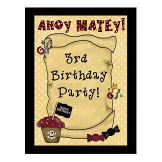 3ro Invitaciones del cumpleaños del pirata Postal