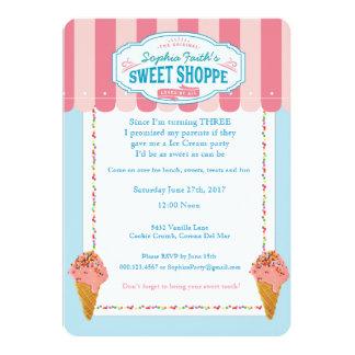 3ro Invitaciones dulces del fiesta del helado del Invitación 12,7 X 17,8 Cm