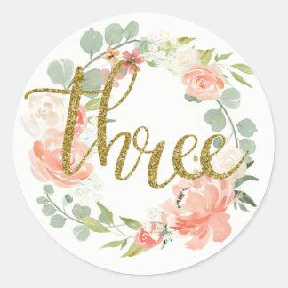 3ro Pegatina floral de la guirnalda del oro rosado