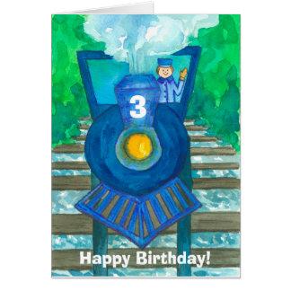 3ro personalizado feliz del tren del vapor del tarjeta