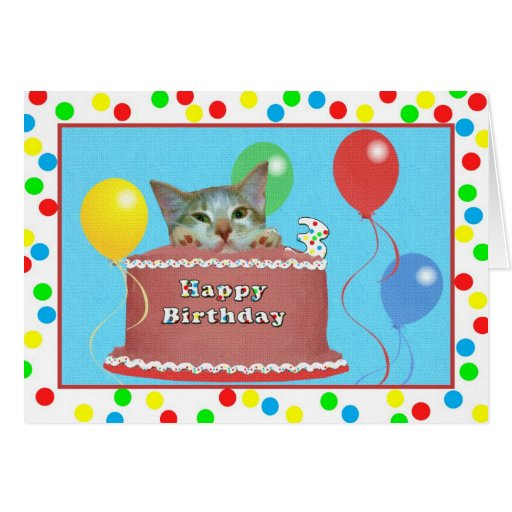 3ro Tarjeta de cumpleaños con el gato en una torta
