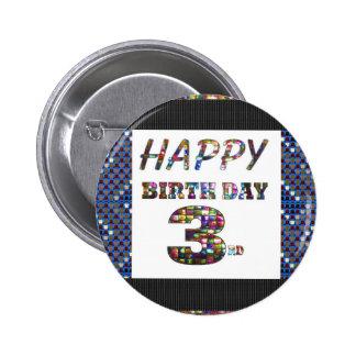 3ro texto del feliz cumpleaños chapa redonda 5 cm