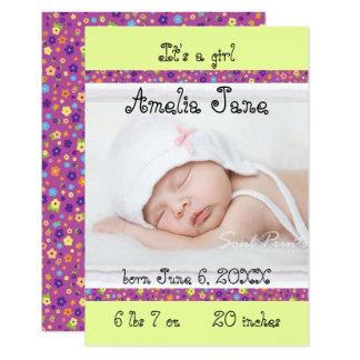 3x5 invitación recién nacida de la niña
