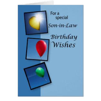 4087 deseos del cumpleaños del yerno, globos tarjeta de felicitación