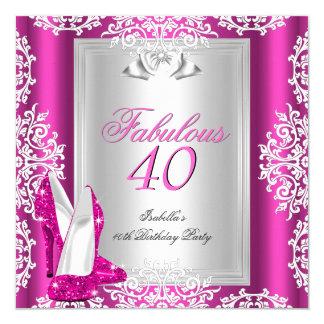 40 40.os zapatos fabulosos de las rosas fuertes de invitación 13,3 cm x 13,3cm