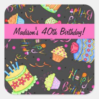 40.a celebración del cumpleaños de la torta negra pegatina cuadrada