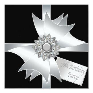 40.a fiesta de cumpleaños blanco y negro elegante invitación 13,3 cm x 13,3cm