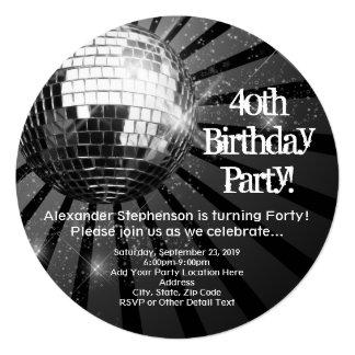40.a fiesta de cumpleaños de la bola de discoteca invitación 13,3 cm x 13,3cm