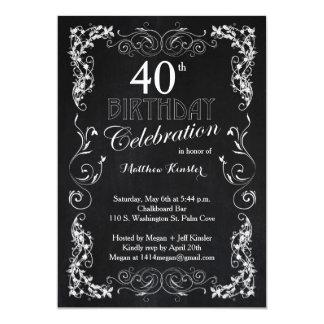 40.a fiesta de cumpleaños de la pizarra invitación 12,7 x 17,8 cm