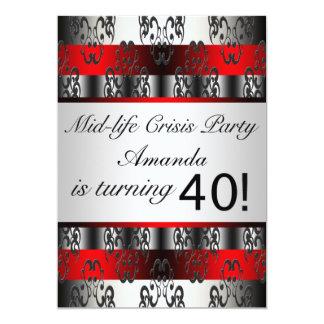40.a fiesta de cumpleaños del negro rojo invitación 12,7 x 17,8 cm