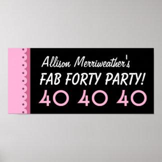 40.a fiesta de cumpleaños del personalizado o posters