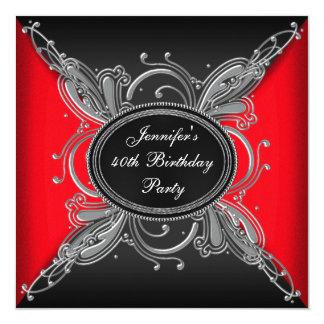 40.a fiesta de cumpleaños roja de la mujer y negra comunicados personalizados