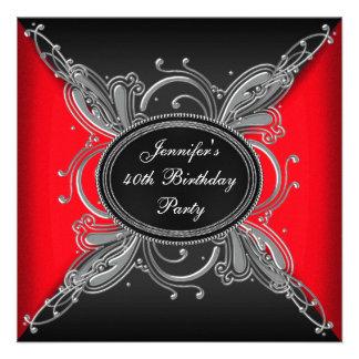 40 a fiesta de cumpleaños roja de la mujer y negra comunicados personalizados
