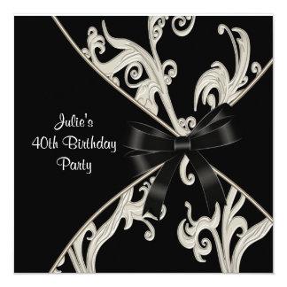40.a fiesta del cumpleaños de la mujer blanca invitación 13,3 cm x 13,3cm