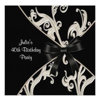 40 a fiesta del cumpleaños de la mujer blanca negr invitaciones personales