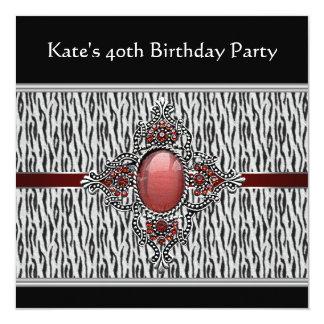 40.a fiesta del cumpleaños de la mujer negra de la invitación 13,3 cm x 13,3cm